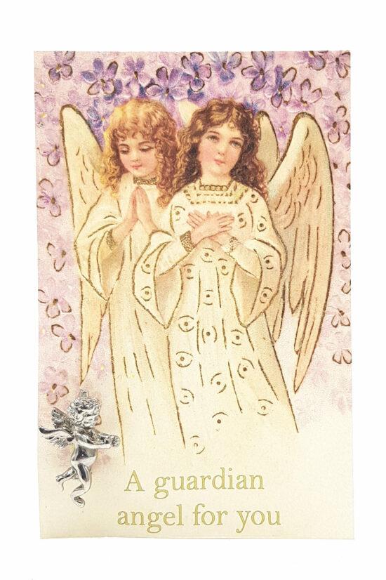 Ansichtkaart a Guardian Angel for you met engel broche zilverkleurig