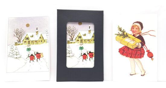 Mapje ansichtkaarten Kerstmeisje en Lieveheersbeestjes Merry Christmas