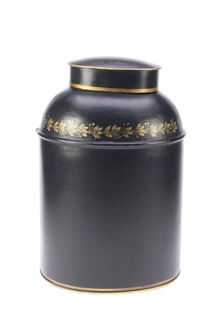 Voorraadbus metaal ovaal zwart