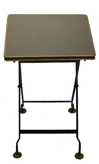 Klaptafel metaal vierkant greige goudkleurige rand
