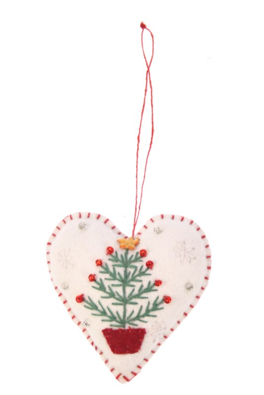 Kerstornament hartje met kerstboom vilt