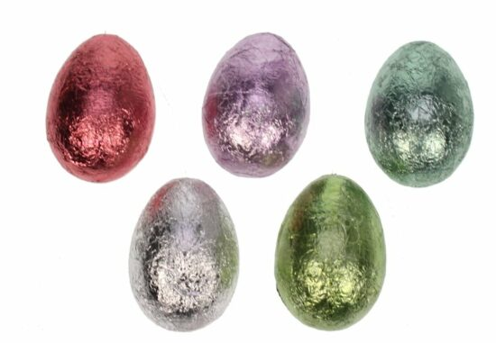 Eieren in gekleurd folie om te hangen set 5st