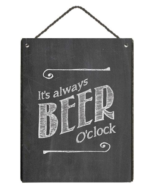 Houten wandbordje 'Beer o'clock' zwart