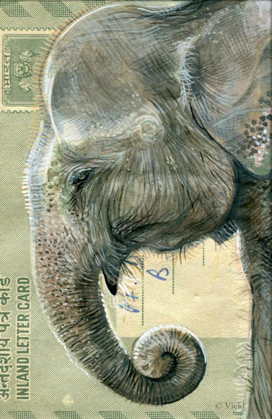 Wenskaart  met envelop Olifant