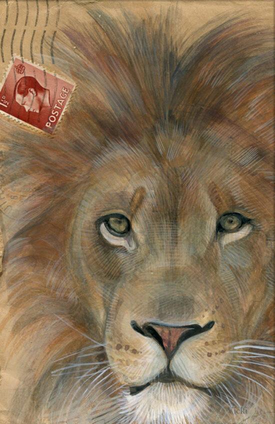 Wenskaart  met envelop Leeuw