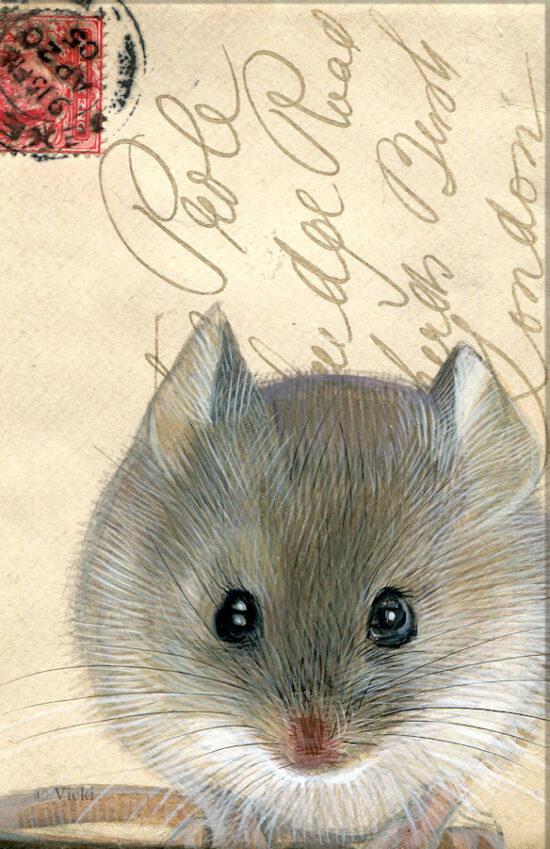 Wenskaart  met envelop Muis