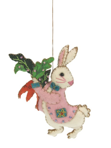 Haas Wit met roze jas en wortels