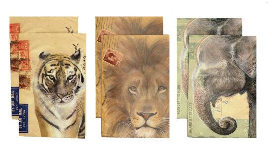 Wenskaarten met envelop Wilde dieren set 6 stuks