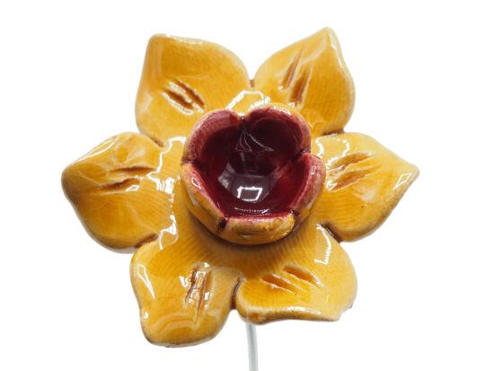 Keramieken bloem Narcis geel op prikker