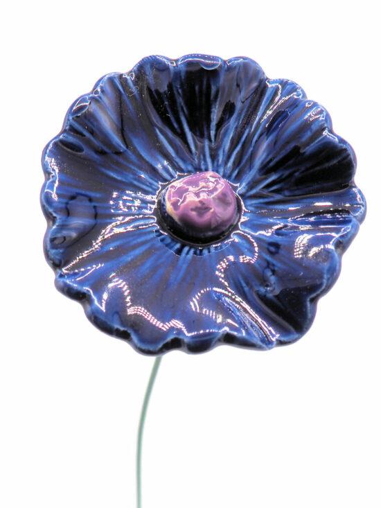 Keramieken Korenbloem blauw op prikker
