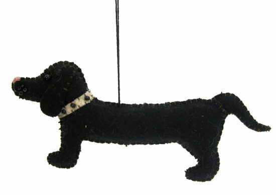 Teckel ornament zwart vilt