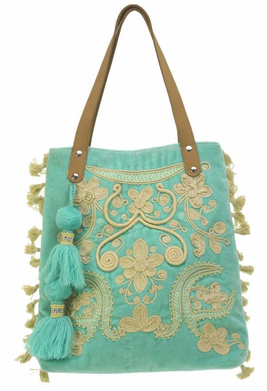 Tas Ibiza medium Turquoise crème embroiderie