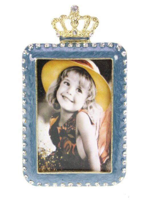 Fotolijst blauw met kroon goudkleurig rechthoekig