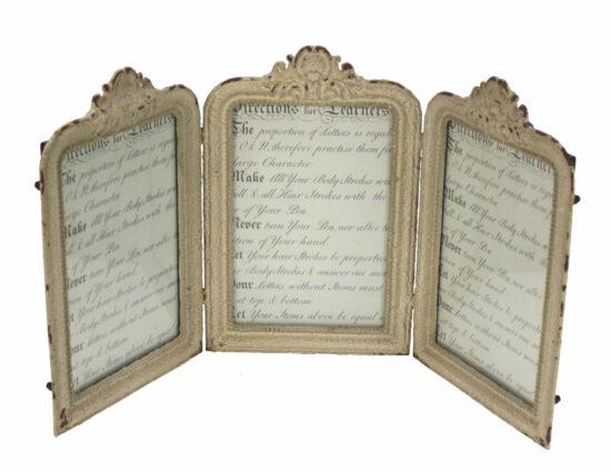 Fotolijst drieluik antiek wit