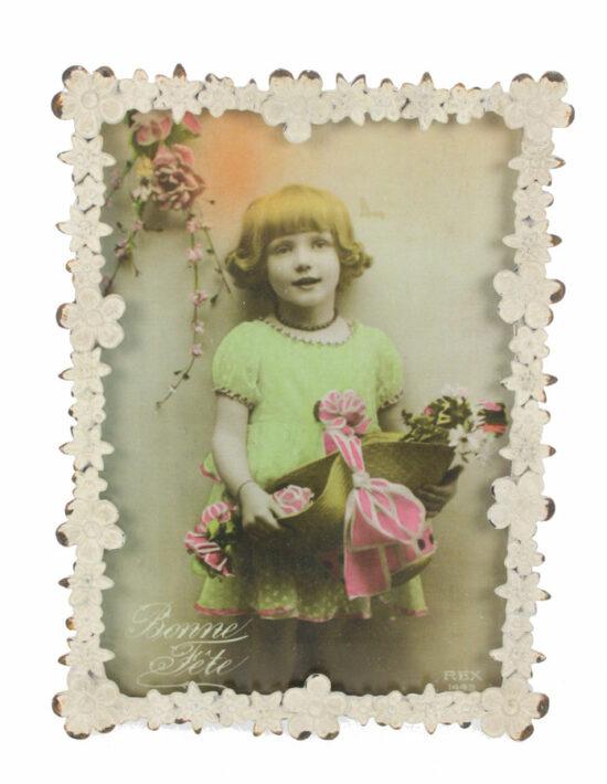 Fotolijstje Bloemen antiek wit