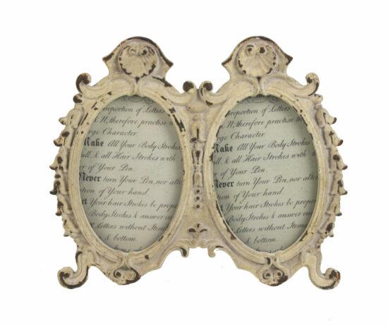 Fotolijstje dubbel ovaal antiek wit
