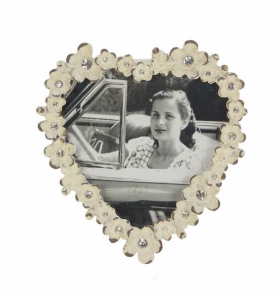 Fotolijstje Hartje met bloemetjes antiek wit met strass