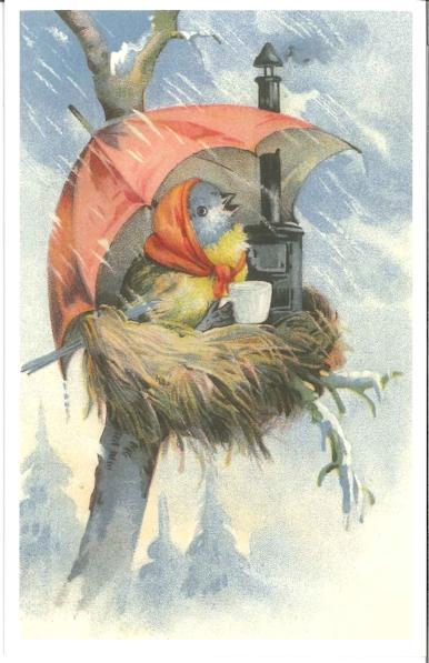 Ansichtkaart vogel in nest onder paraplu
