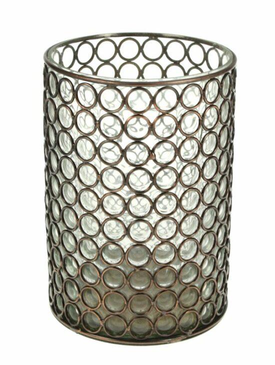 Windlicht glas in metalen cirkeltjesframe